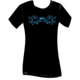 Maglietta cotone nera SCROLL BIPLANE