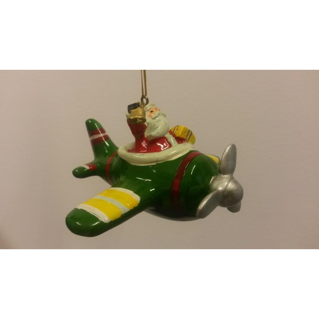 Babbo Natale su aereo verde