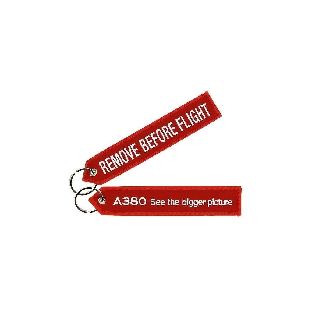 "Portachiavi Airbus A380 ""REMOVE BEFORE FLIGHT"""