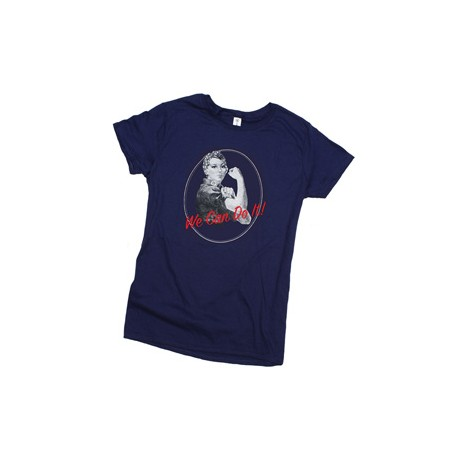 "T-shirt donna ""ROSIE THE RIVETER"" colore blu"