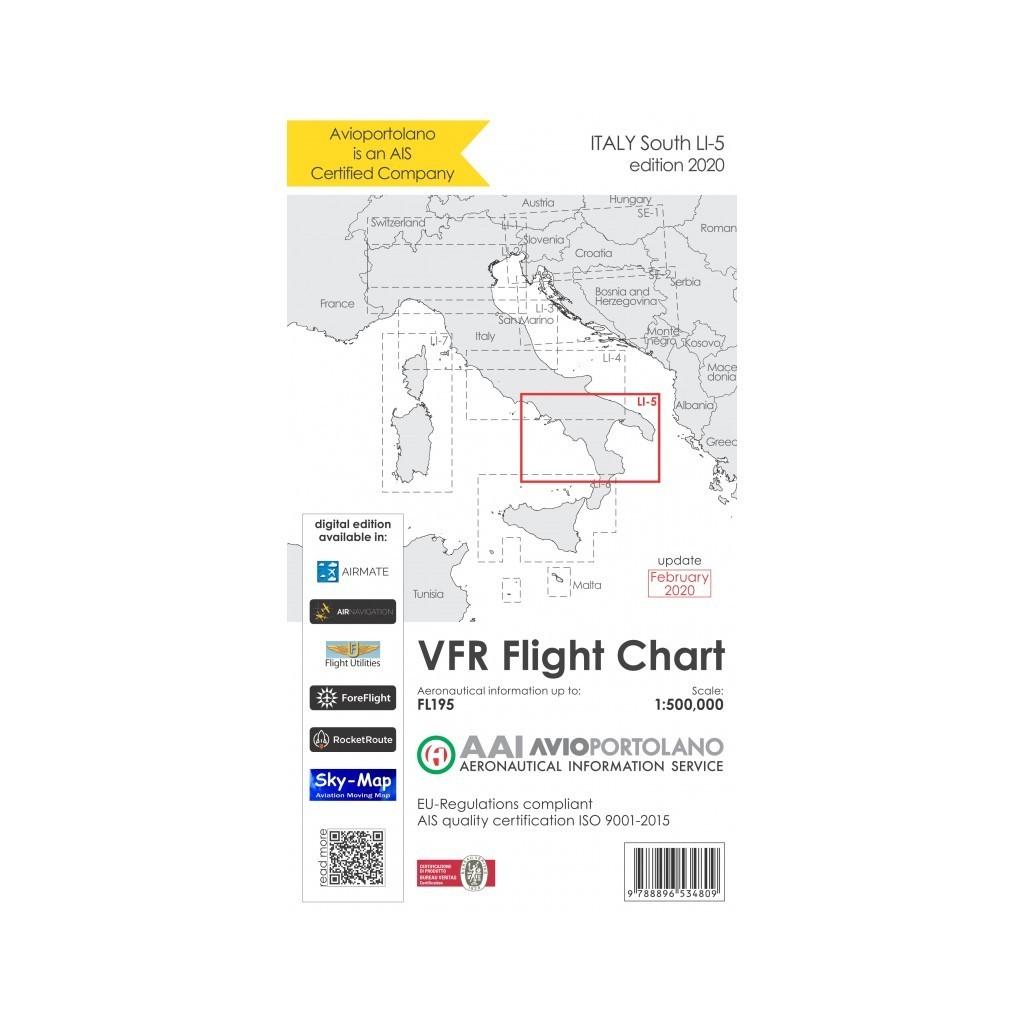 Carte Aeronautiche VFR Avioportolano edizione 2020 - LI-5 Sud