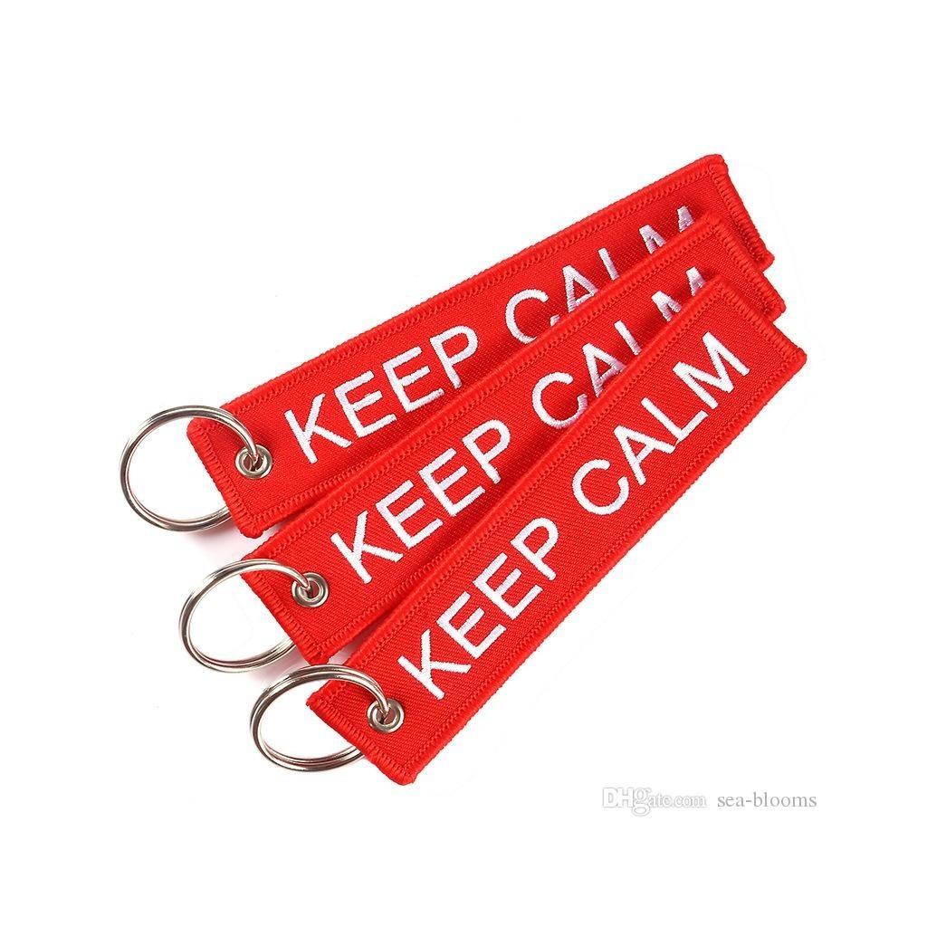 Portachiavi tessuto Keep Calm And Carry On