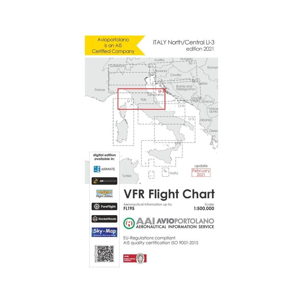 Carte Aeronautiche VFR Avioportolano edizione 2020 - LI-3 Centro Nord