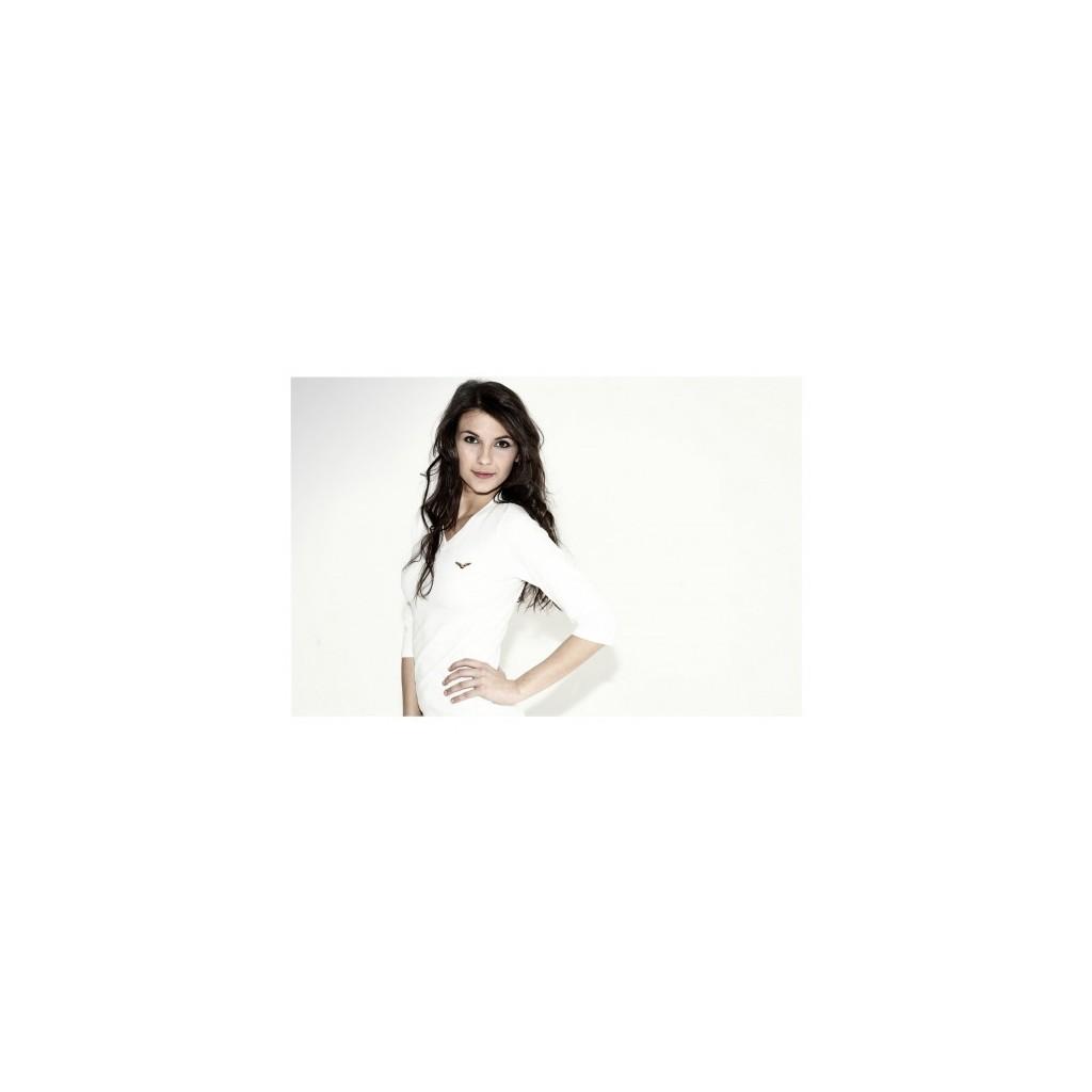 T-shirt Donna bianca/nera manica 3/4 AVIAZIONE GENERALE