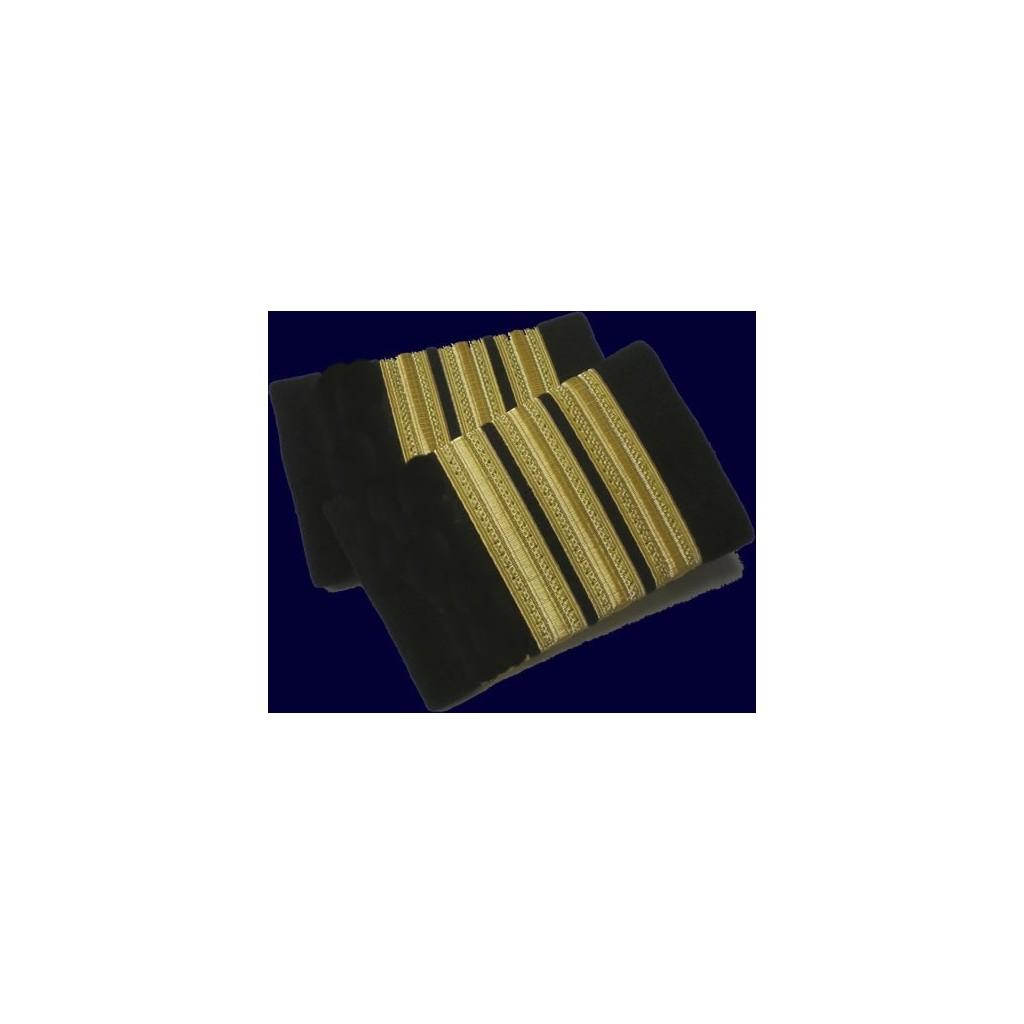 Coppia tubolari (gradi pilota) camicia 3 strisce ORO